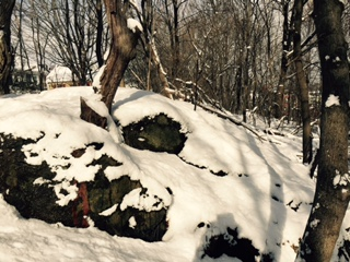 Proctor's ledge in Salem, Massachusetts after snow fall.